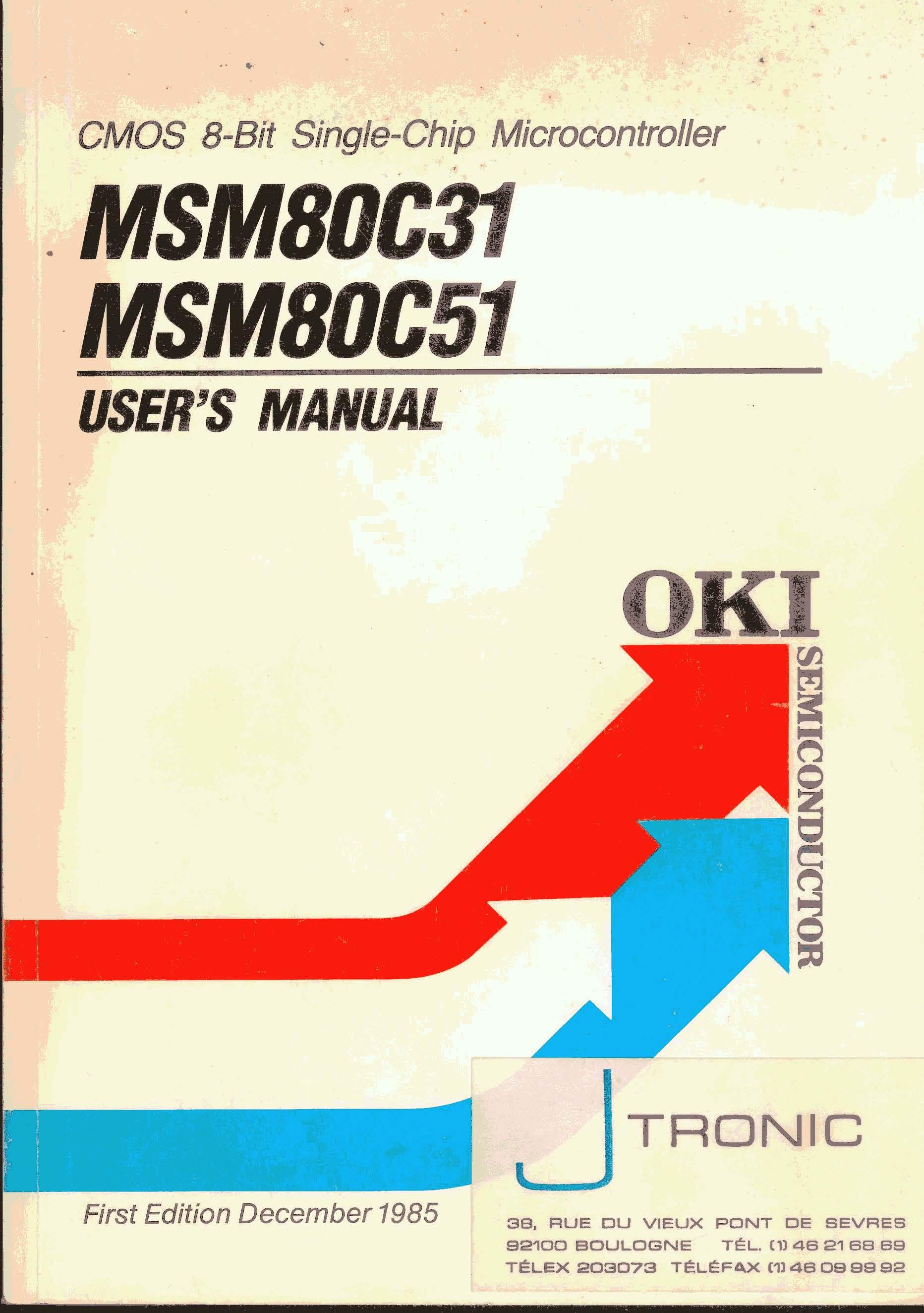 oki cmos 8 bit single chip microcontroller msm80c31 msm80c51 rh matthieu benoit free fr oki c321dn user manual oki mc332 user manual