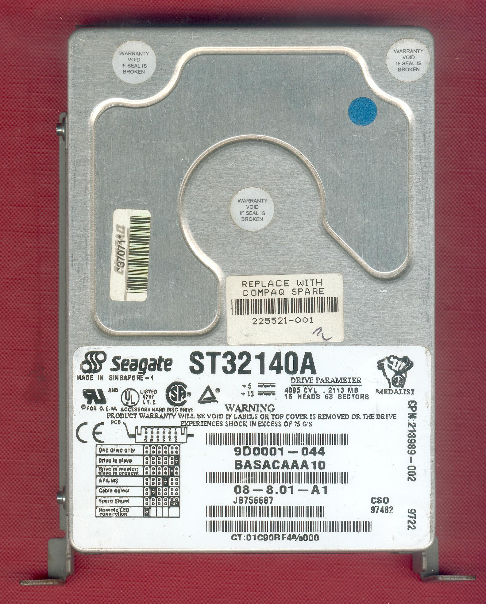 Seagate ST32140A hard disk unit - Replace with Compaq Spare