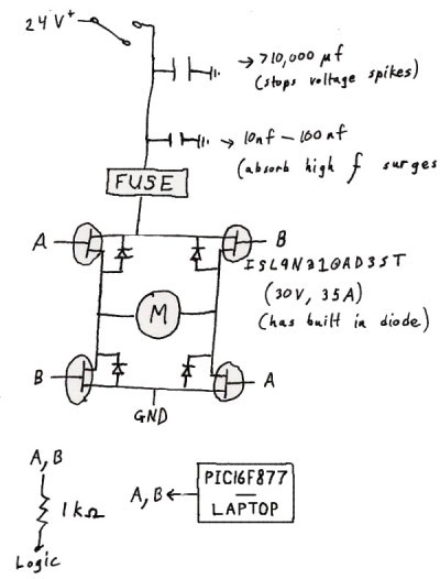 The Below is a H-Bridge Schematic from this site: http://www.societyofrobots.com/schematics_h-bridgedes.shtml.